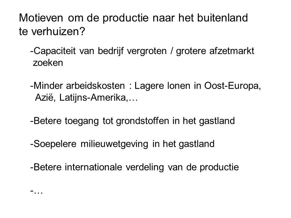 Motieven om de productie naar het buitenland te verhuizen