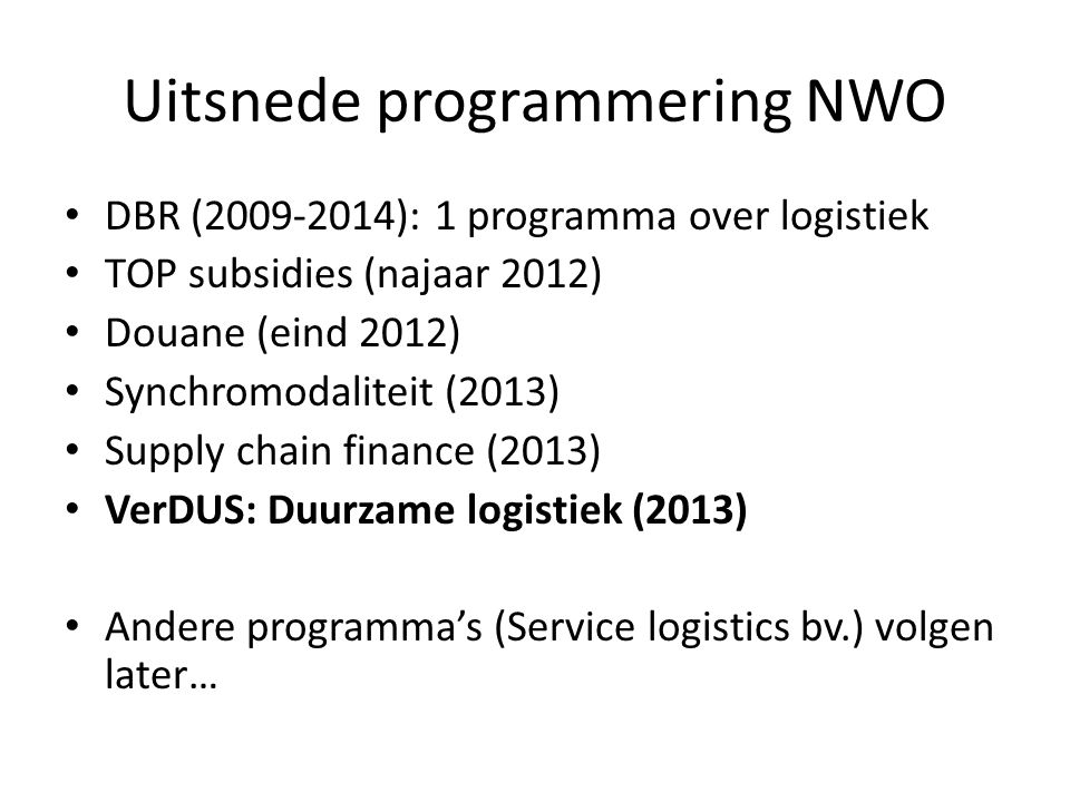 Uitsnede programmering NWO