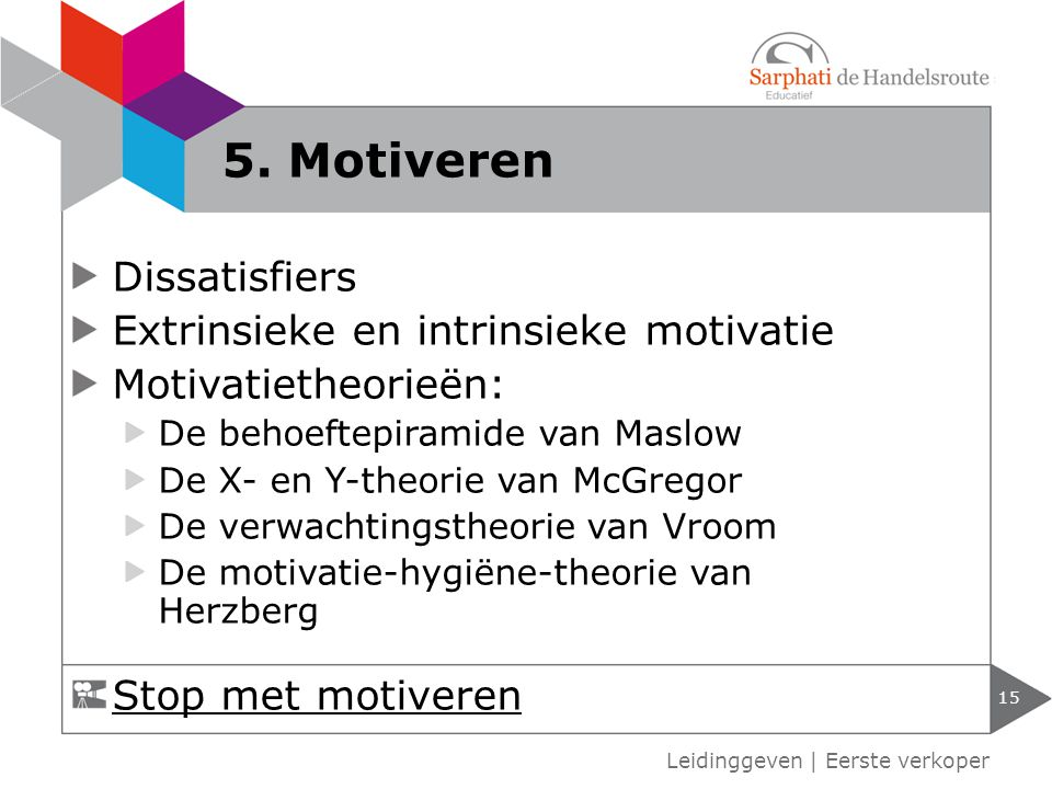 5. Motiveren Dissatisfiers Extrinsieke en intrinsieke motivatie