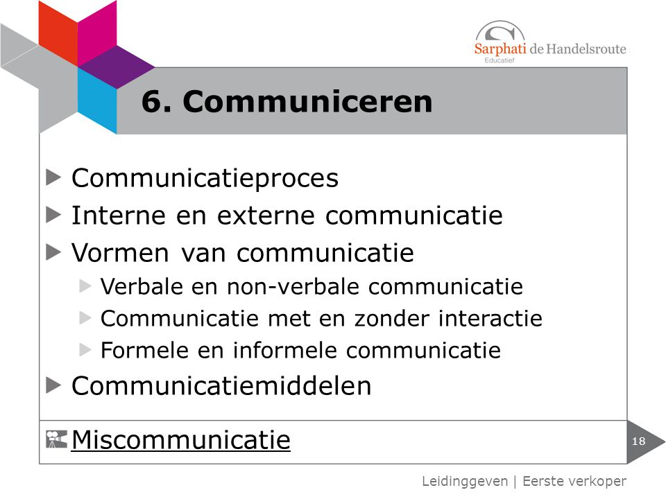 6. Communiceren Communicatieproces Interne en externe communicatie