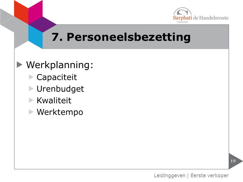7. Personeelsbezetting Werkplanning: Capaciteit Urenbudget Kwaliteit