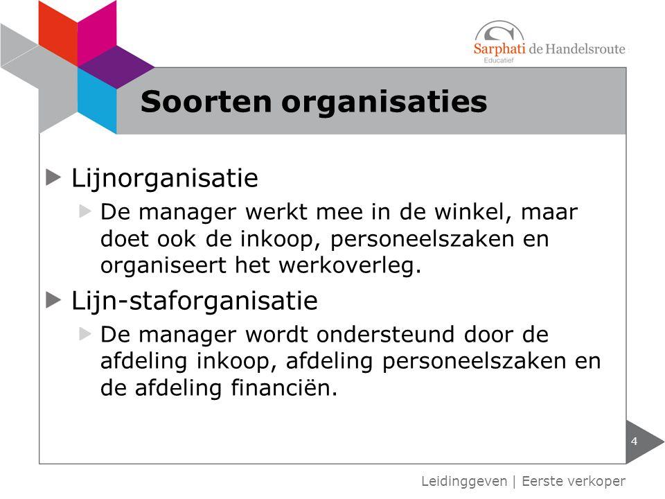 Soorten organisaties Lijnorganisatie Lijn-staforganisatie