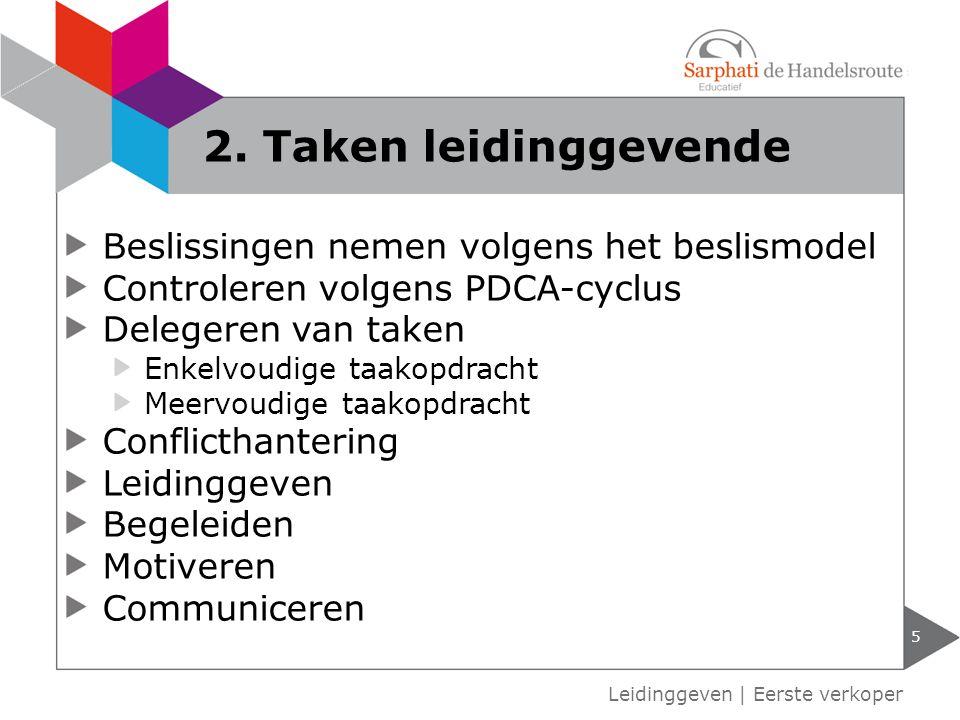 2. Taken leidinggevende Beslissingen nemen volgens het beslismodel