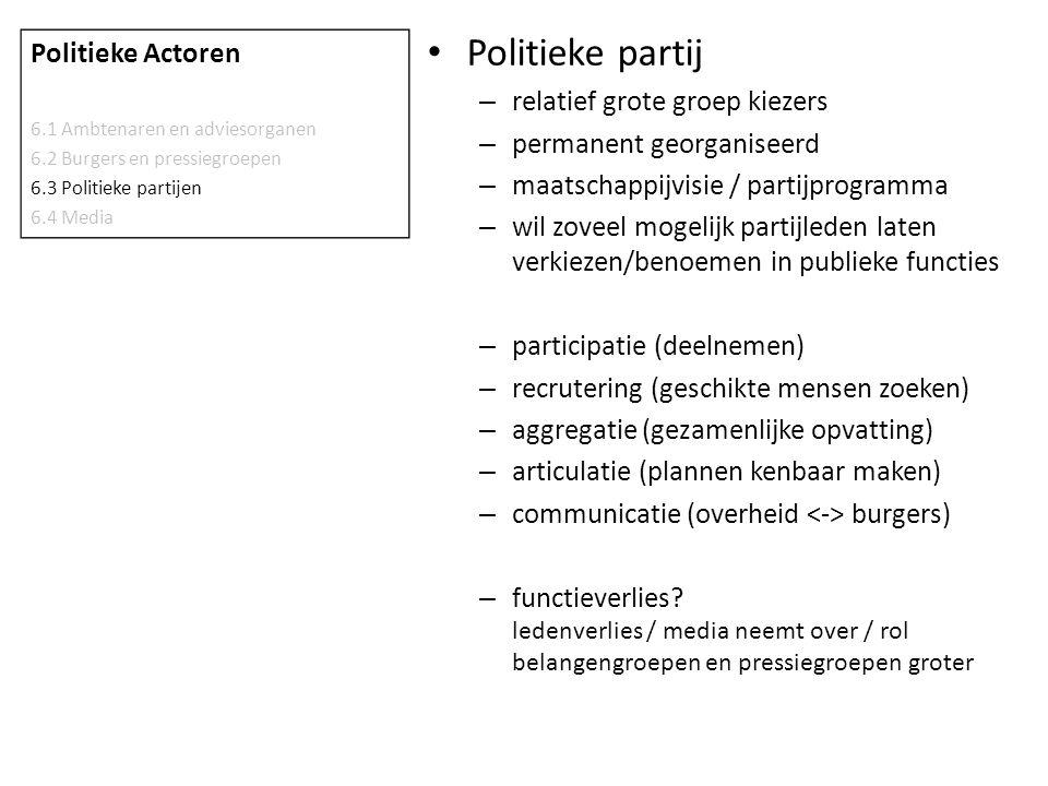 Politieke partij Politieke Actoren relatief grote groep kiezers