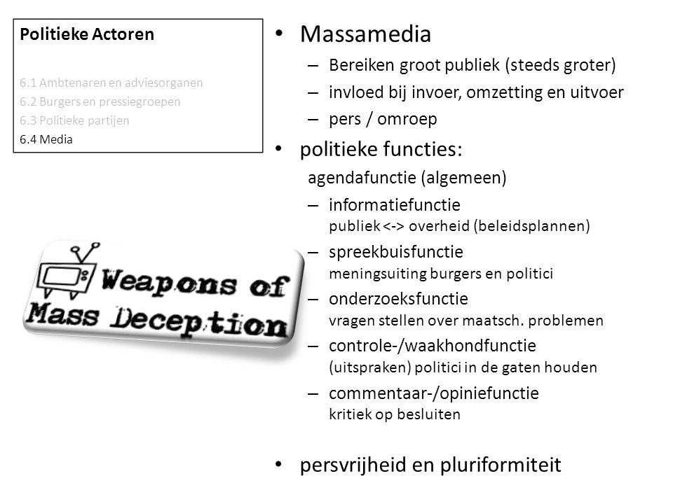 Massamedia politieke functies: persvrijheid en pluriformiteit