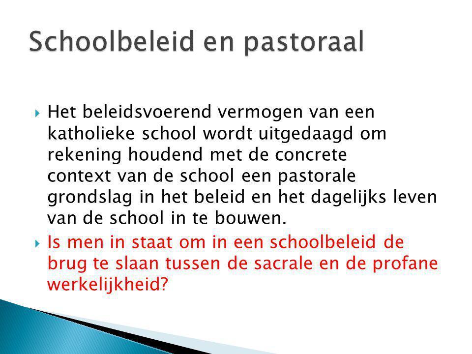 Schoolbeleid en pastoraal