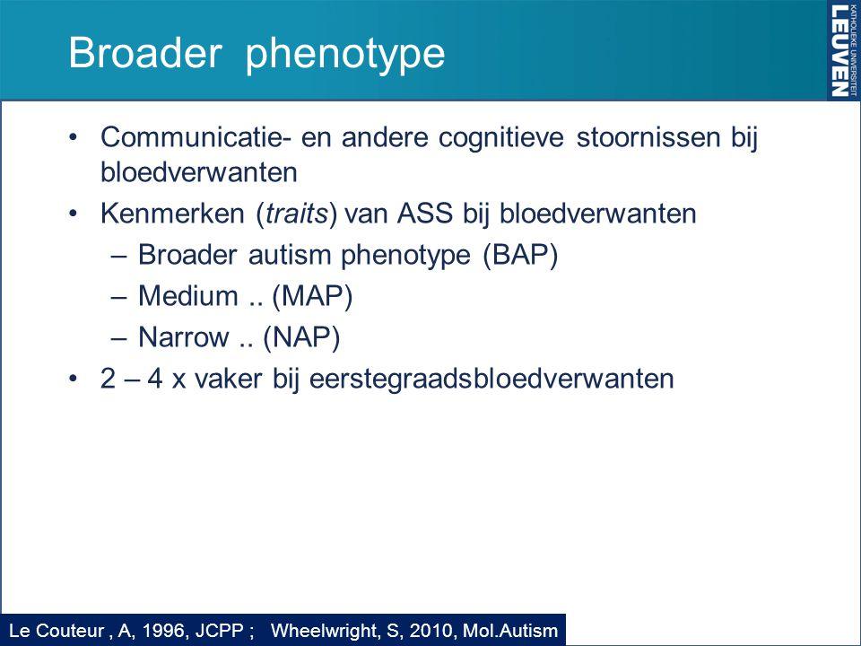 Broader phenotype Communicatie- en andere cognitieve stoornissen bij bloedverwanten. Kenmerken (traits) van ASS bij bloedverwanten.