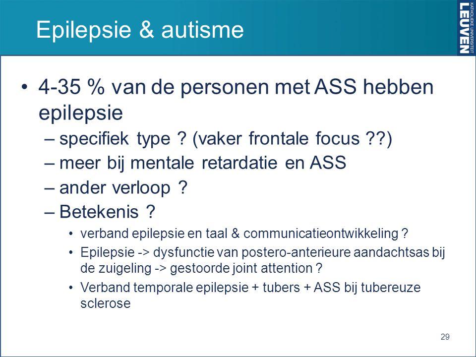 Epilepsie & autisme 4-35 % van de personen met ASS hebben epilepsie