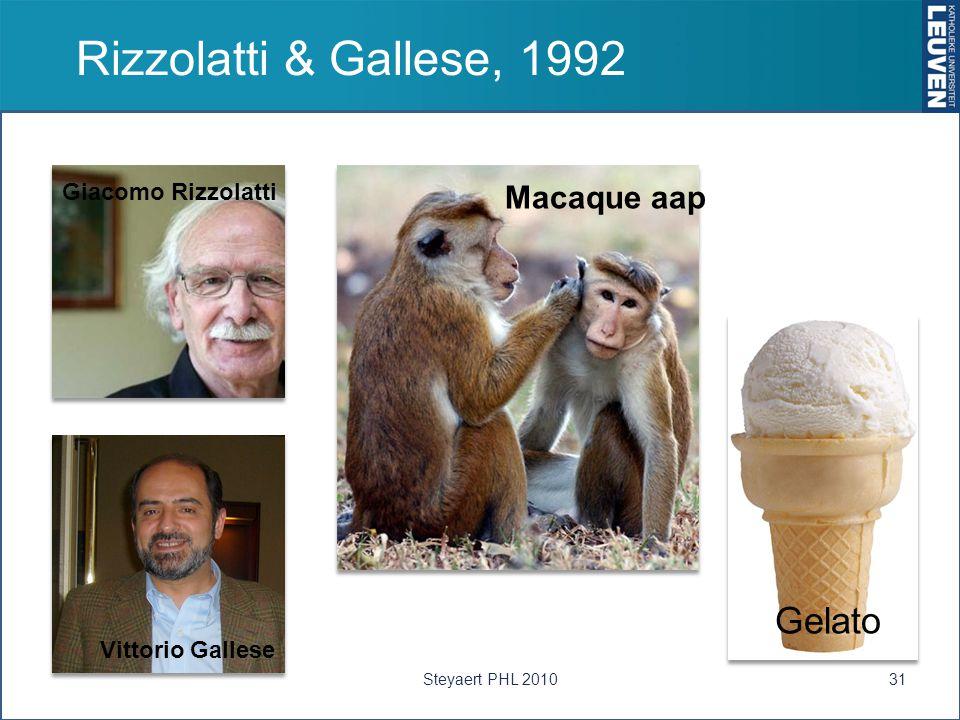 Rizzolatti & Gallese, 1992 Gelato Macaque aap Giacomo Rizzolatti
