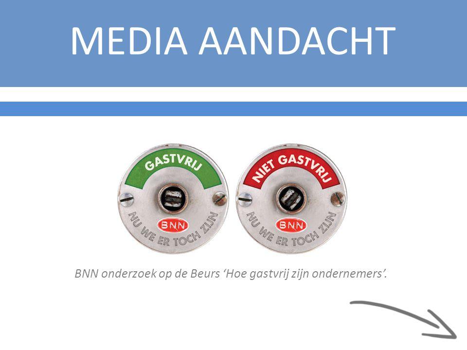 MEDIA AANDACHT BNN onderzoek op de Beurs 'Hoe gastvrij zijn ondernemers'.