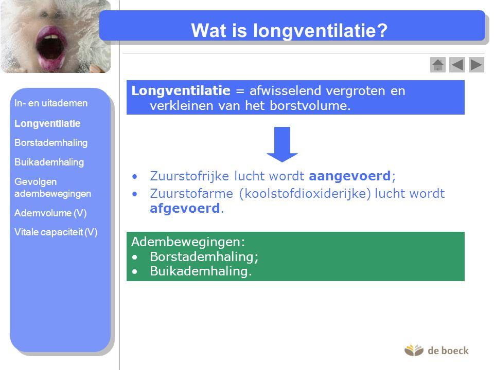 Wat is longventilatie Longventilatie = afwisselend vergroten en verkleinen van het borstvolume. In- en uitademen.
