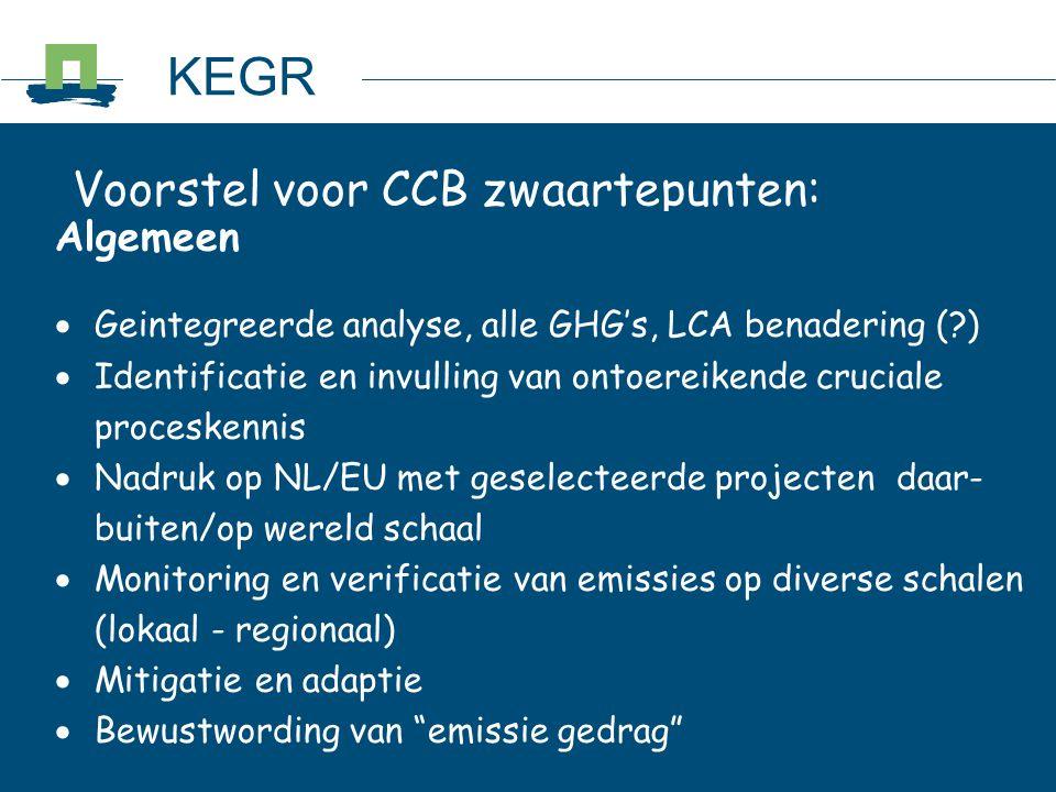 KEGR Voorstel voor CCB zwaartepunten: Algemeen