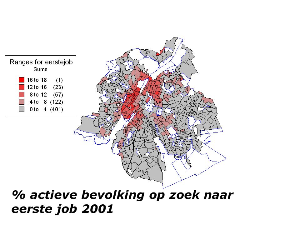 % actieve bevolking op zoek naar eerste job 2001