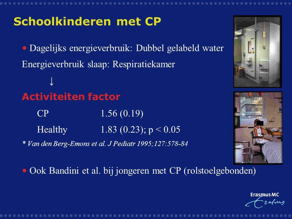 Schoolkinderen met CP • Dagelijks energieverbruik: Dubbel gelabeld water. Energieverbruik slaap: Respiratiekamer.