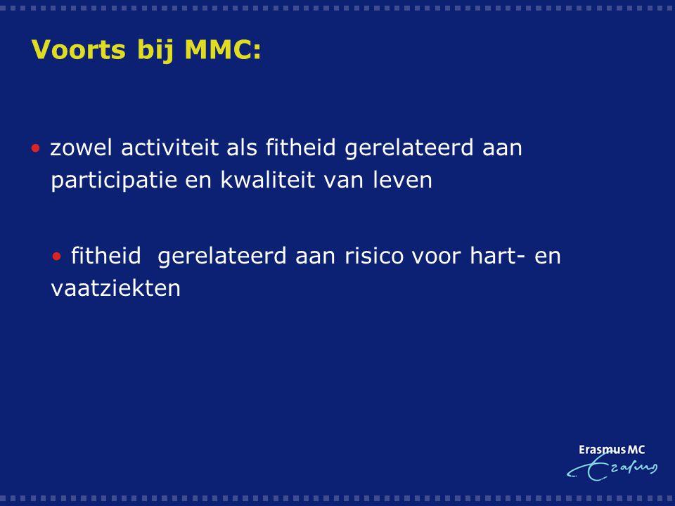 Voorts bij MMC: • zowel activiteit als fitheid gerelateerd aan participatie en kwaliteit van leven.