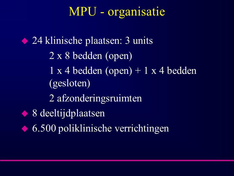 MPU - organisatie 24 klinische plaatsen: 3 units 2 x 8 bedden (open)