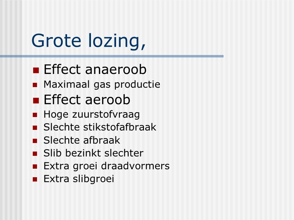 Grote lozing, Effect anaeroob Effect aeroob Maximaal gas productie