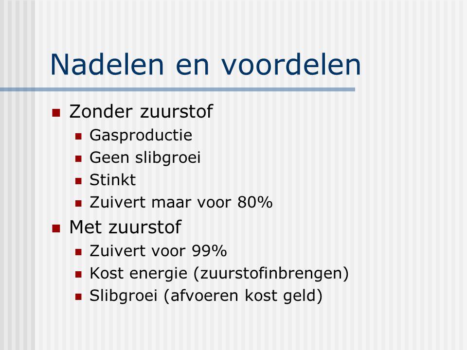 Nadelen en voordelen Zonder zuurstof Met zuurstof Gasproductie