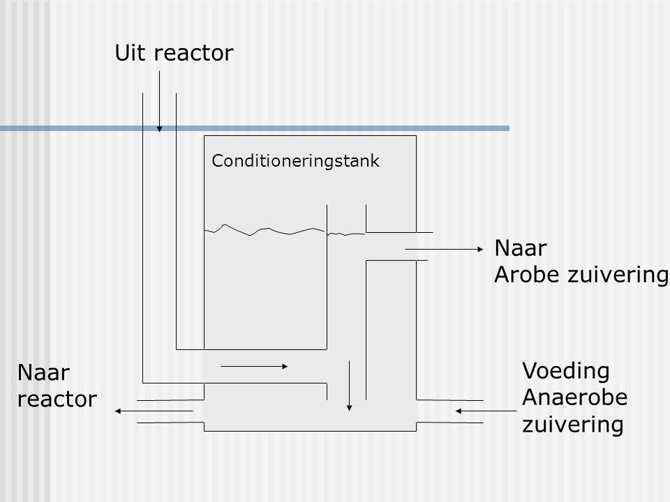 Uit reactor Naar Arobe zuivering Naar Voeding reactor Anaerobe