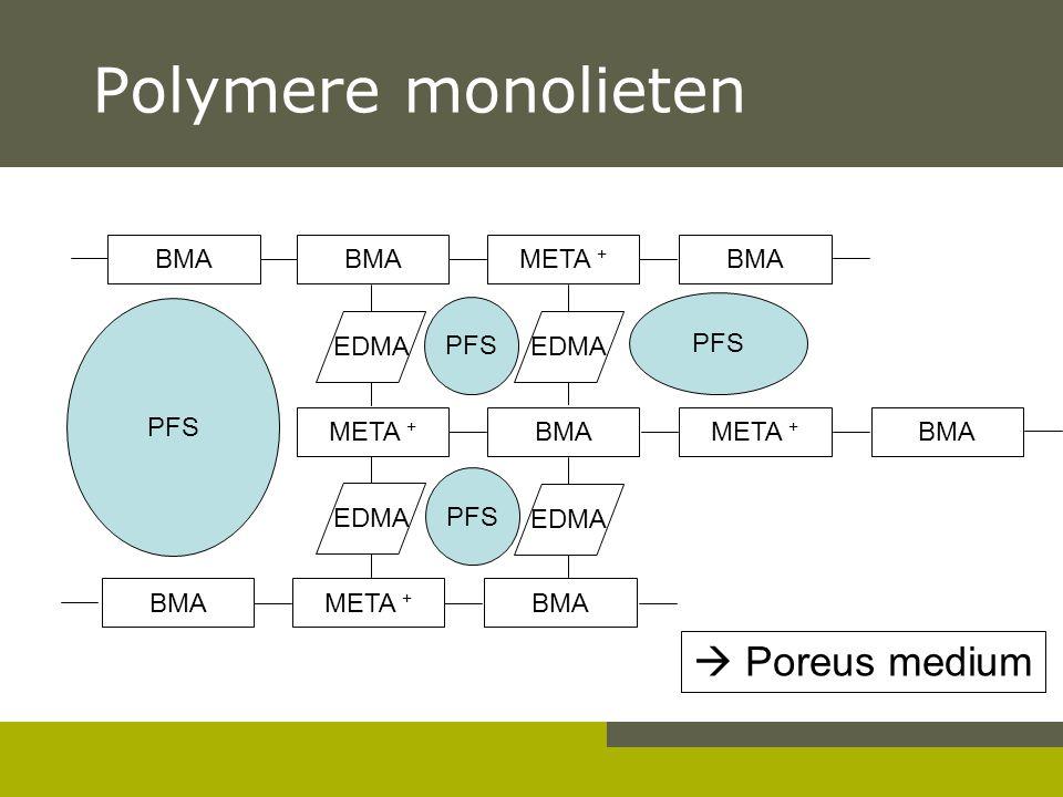 Polymere monolieten  Poreus medium BMA BMA META + BMA PFS PFS PFS