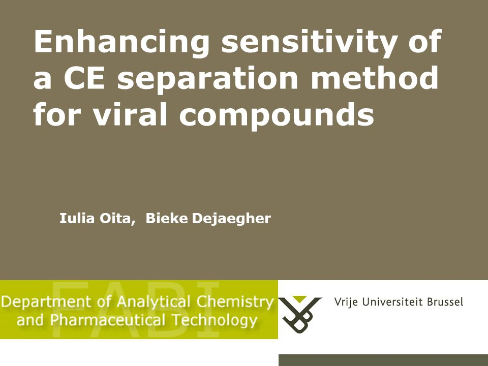 Enhancing sensitivity of a CE separation method for viral compounds