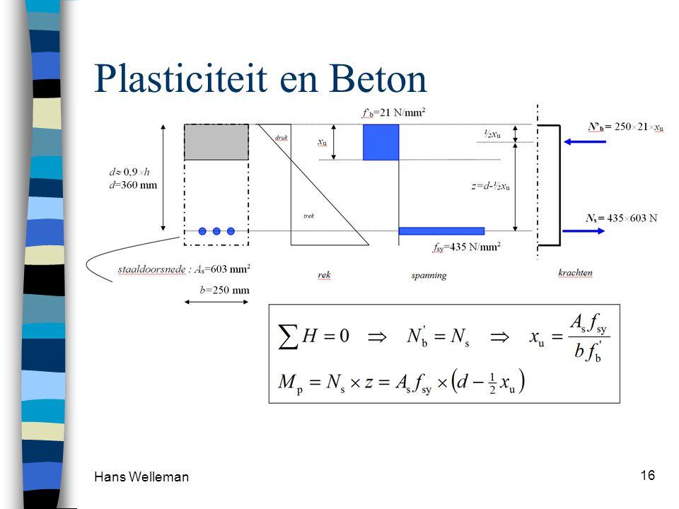 Plasticiteit en Beton Vloeispanning (aanname) Beton 21 N/mm2