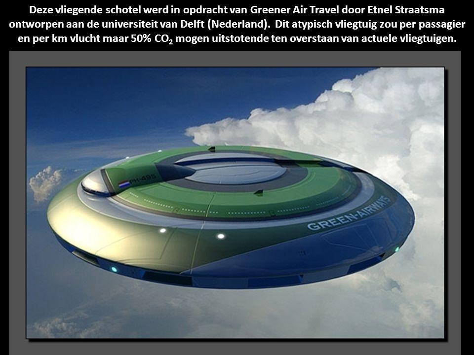 Deze vliegende schotel werd in opdracht van Greener Air Travel door Etnel Straatsma ontworpen aan de universiteit van Delft (Nederland).