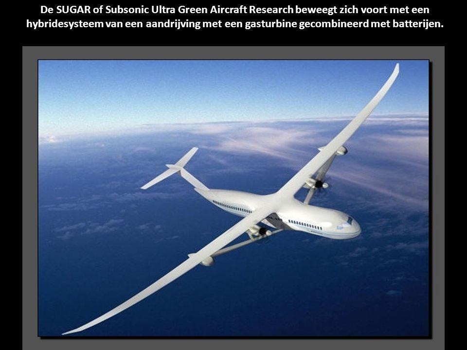 De SUGAR of Subsonic Ultra Green Aircraft Research beweegt zich voort met een hybridesysteem van een aandrijving met een gasturbine gecombineerd met batterijen.