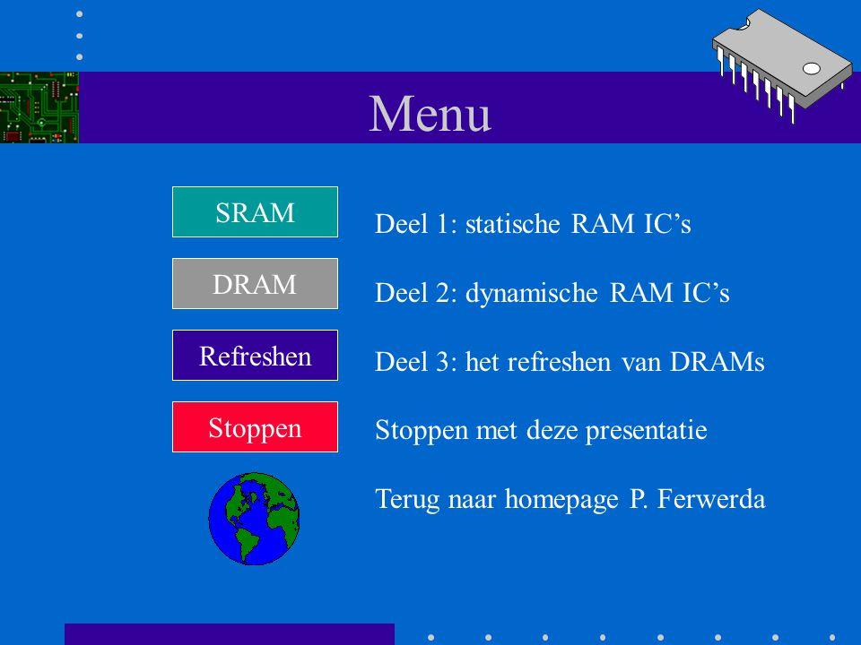 Menu SRAM Deel 1: statische RAM IC's Deel 2: dynamische RAM IC's DRAM