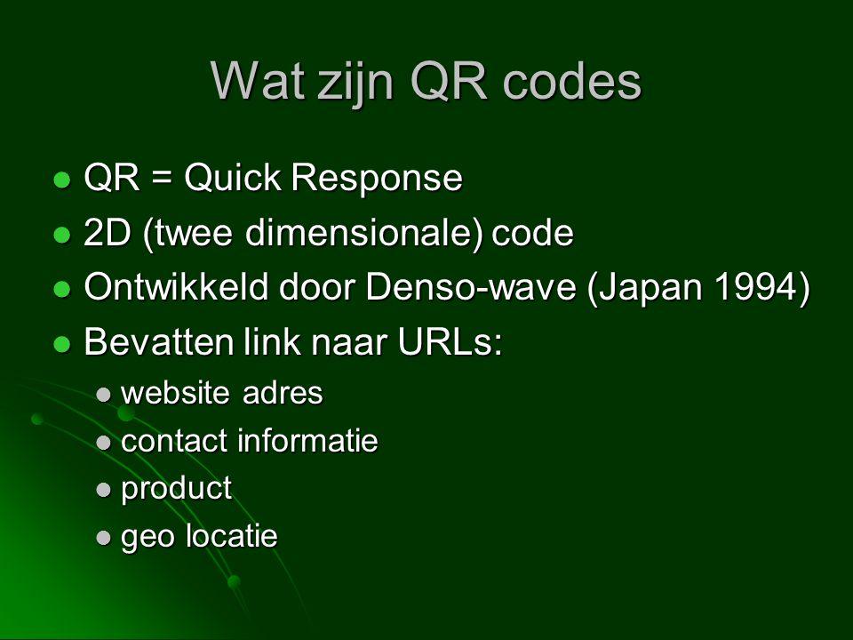 Wat zijn QR codes QR = Quick Response 2D (twee dimensionale) code