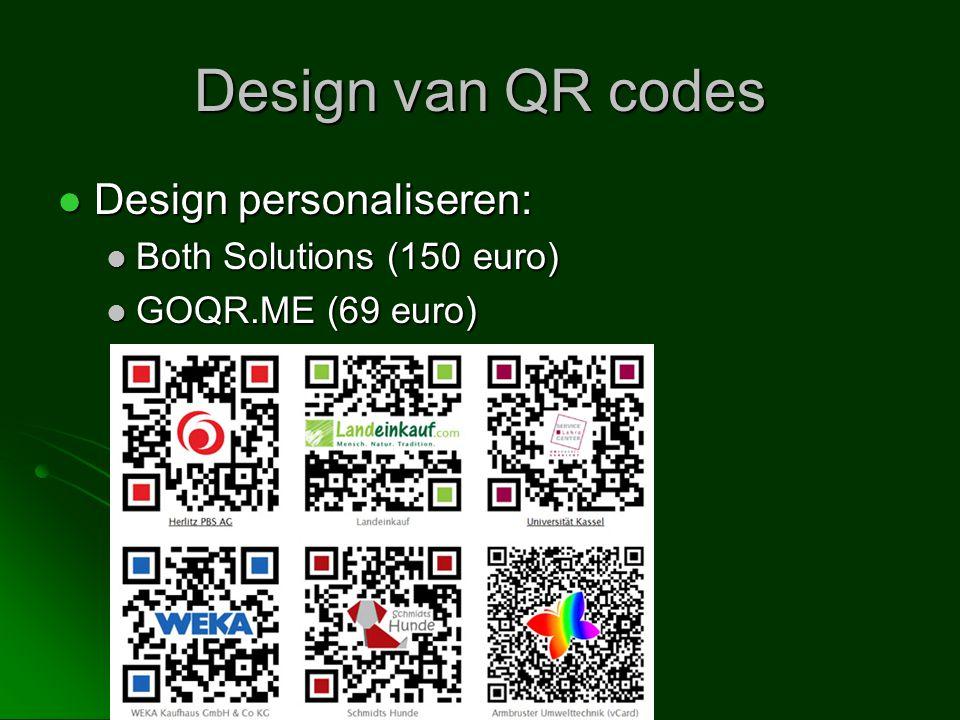 Design van QR codes Design personaliseren: Both Solutions (150 euro)