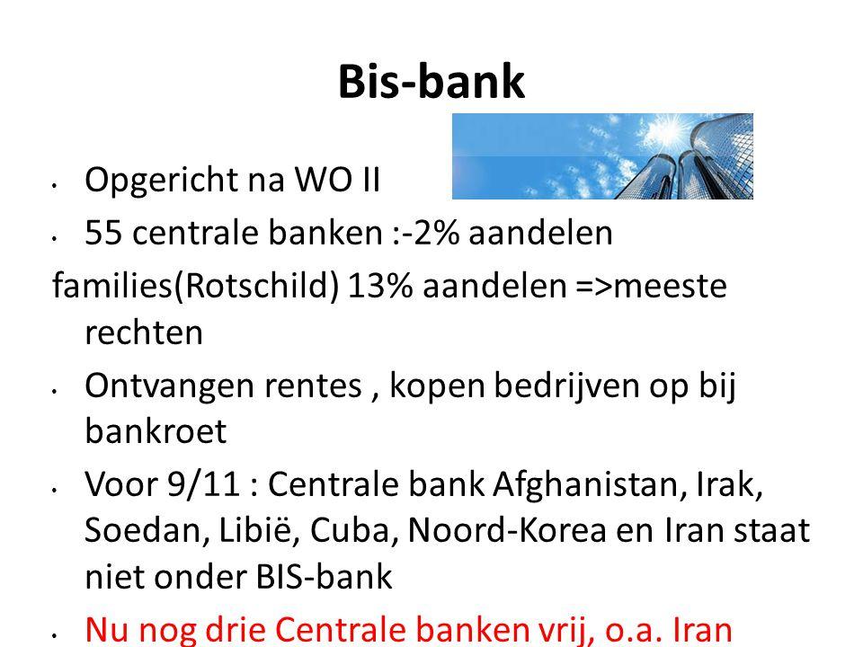 Bis-bank Opgericht na WO II 55 centrale banken :-2% aandelen