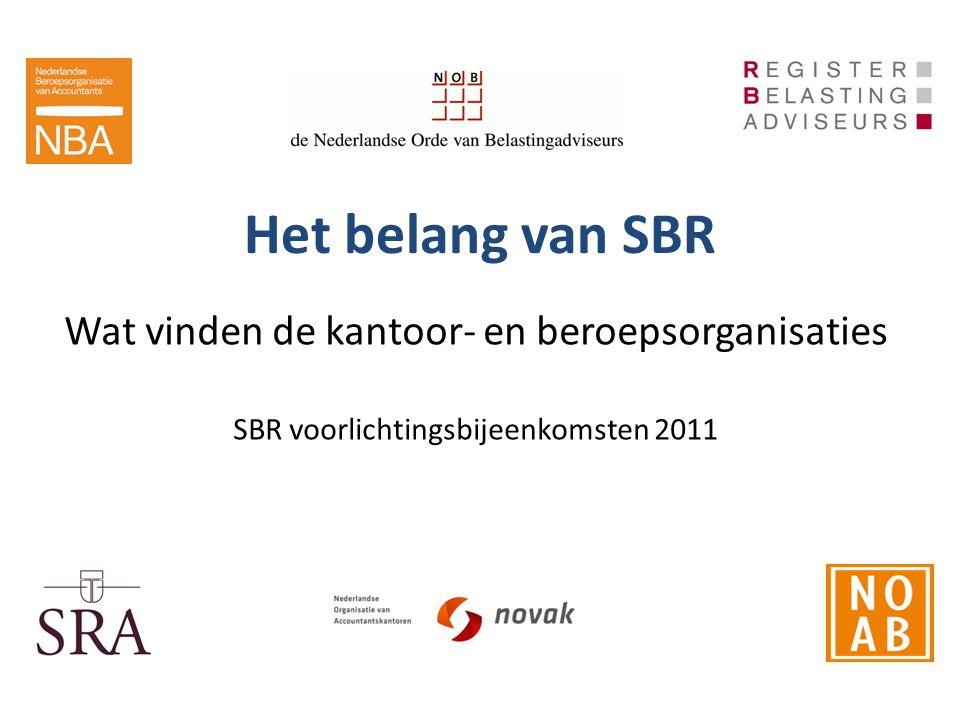 Het belang van SBR Wat vinden de kantoor- en beroepsorganisaties