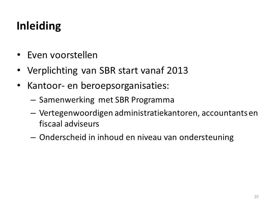 Inleiding Even voorstellen Verplichting van SBR start vanaf 2013