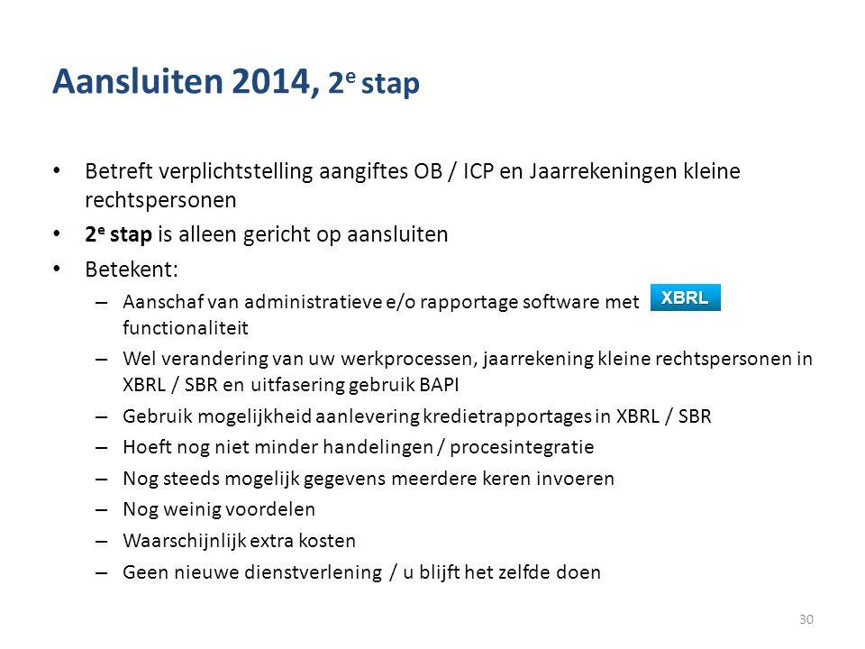 Aansluiten 2014, 2e stap Betreft verplichtstelling aangiftes OB / ICP en Jaarrekeningen kleine rechtspersonen.