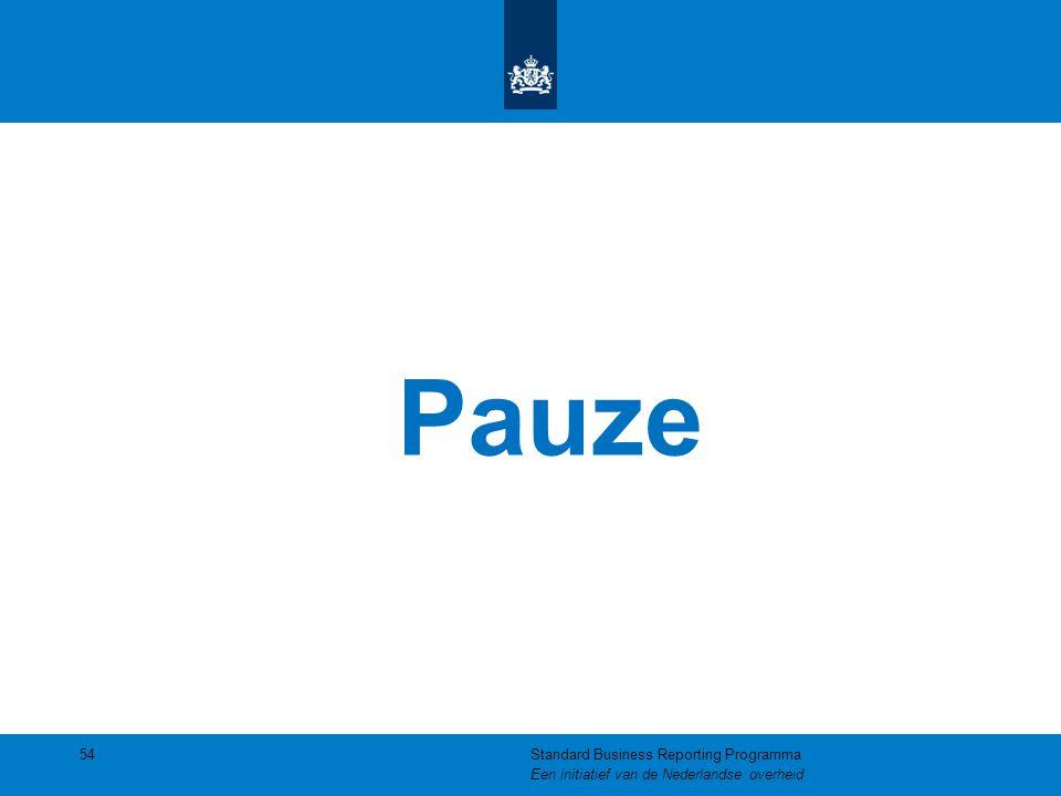 Pauze Standard Business Reporting Programma Een initiatief van de Nederlandse overheid