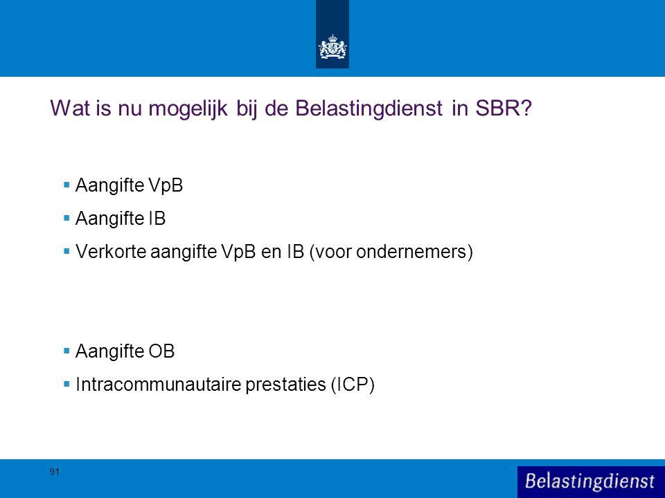 Wat is nu mogelijk bij de Belastingdienst in SBR
