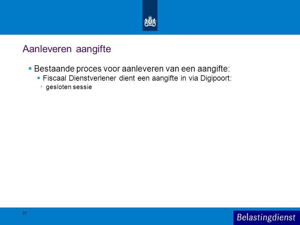Aanleveren aangifte Bestaande proces voor aanleveren van een aangifte: