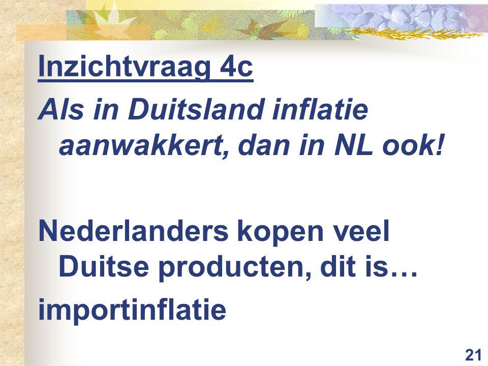 Inzichtvraag 4c Als in Duitsland inflatie aanwakkert, dan in NL ook! Nederlanders kopen veel Duitse producten, dit is…