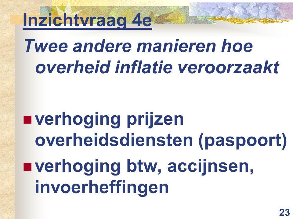 Inzichtvraag 4e Twee andere manieren hoe overheid inflatie veroorzaakt. verhoging prijzen overheidsdiensten (paspoort)