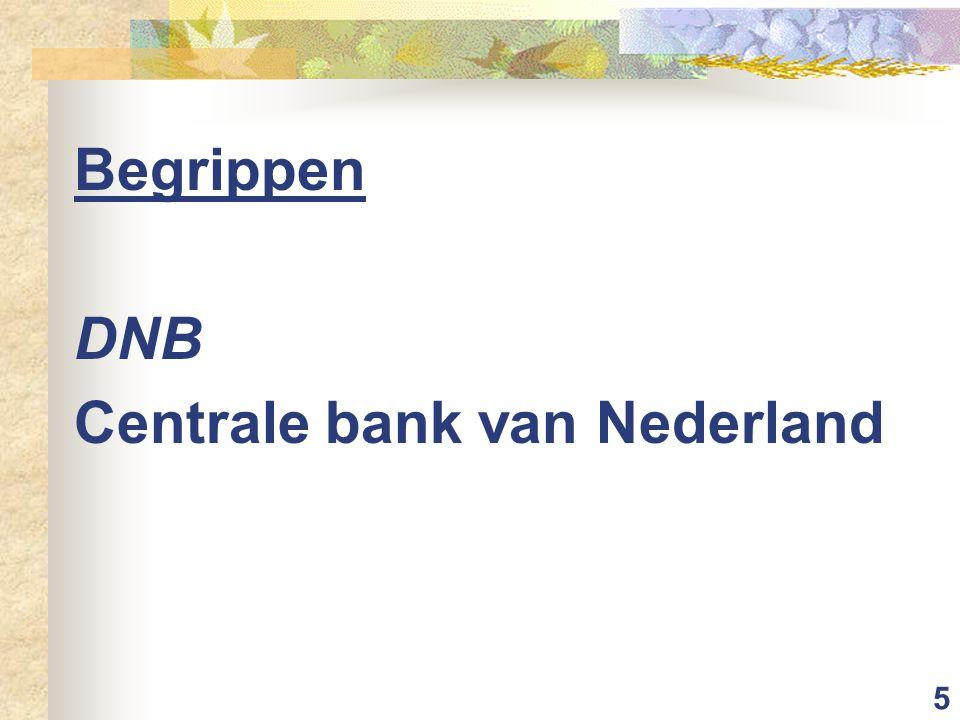 Begrippen DNB Centrale bank van Nederland