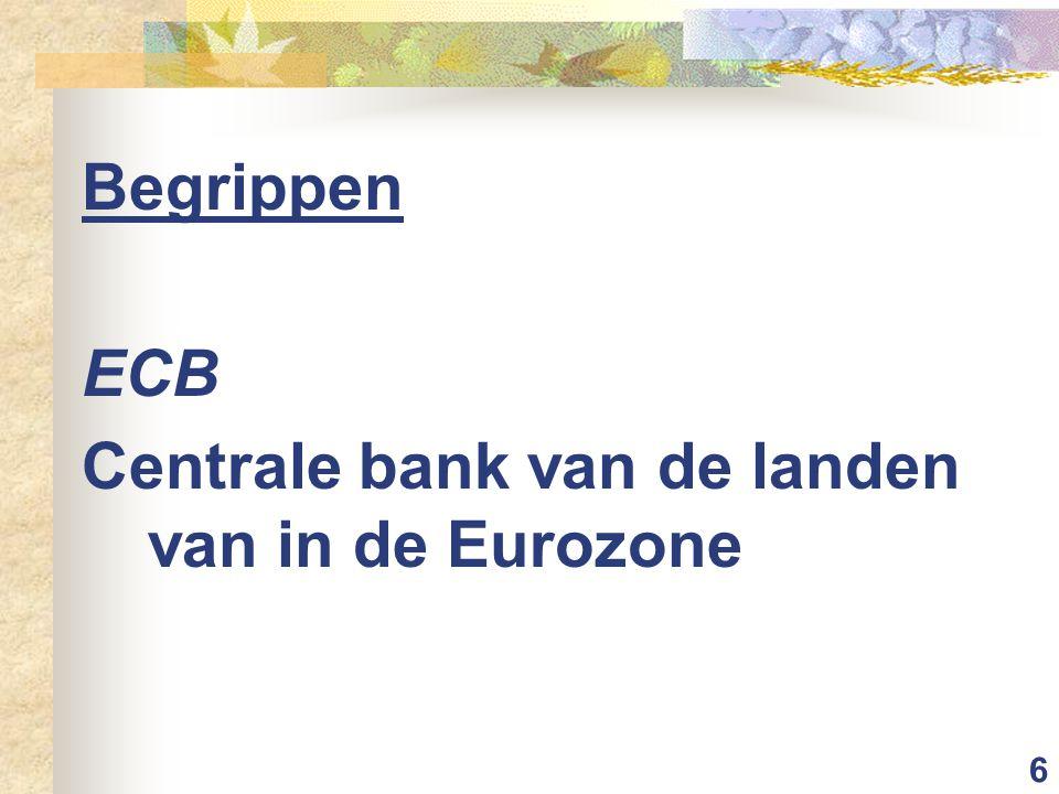 Begrippen ECB Centrale bank van de landen van in de Eurozone