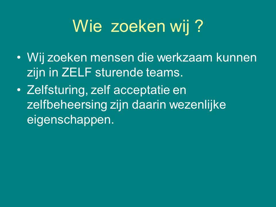 Wie zoeken wij Wij zoeken mensen die werkzaam kunnen zijn in ZELF sturende teams.