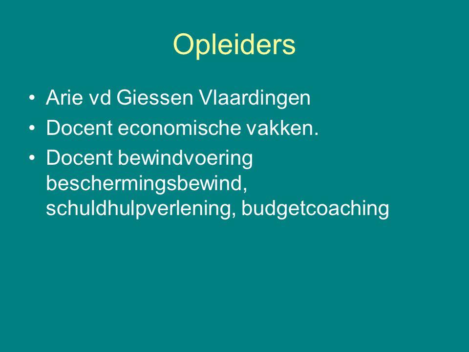 Opleiders Arie vd Giessen Vlaardingen Docent economische vakken.