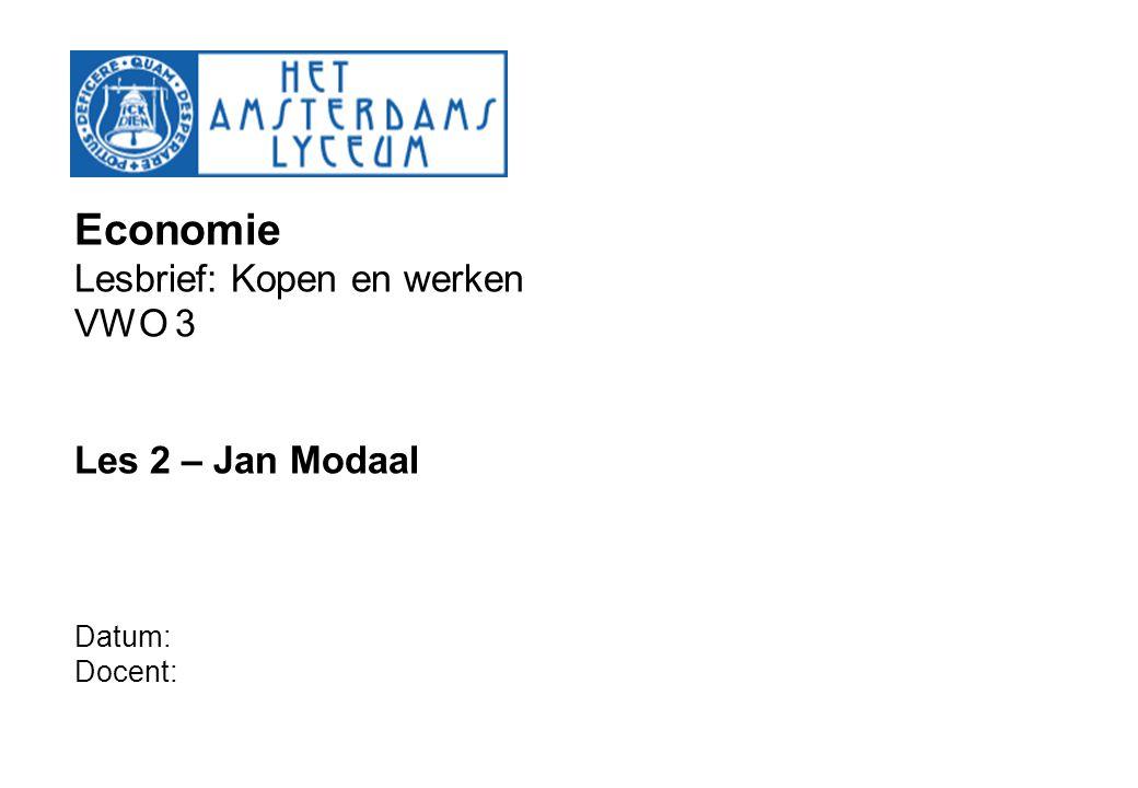 Economie Lesbrief: Kopen en werken VWO 3 Les 2 – Jan Modaal Datum: Docent: