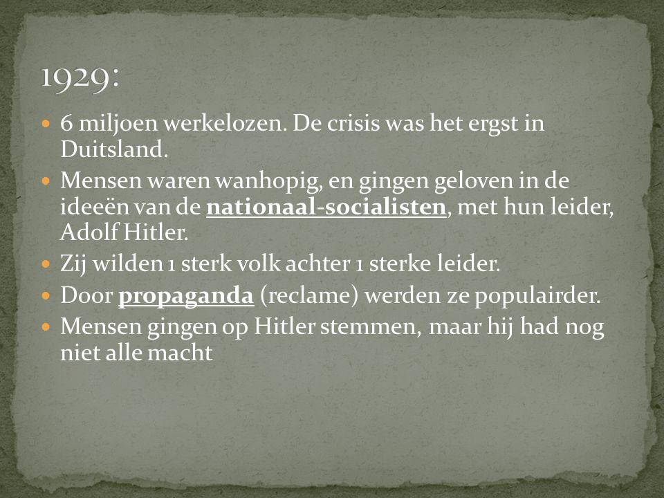 1929: 6 miljoen werkelozen. De crisis was het ergst in Duitsland.