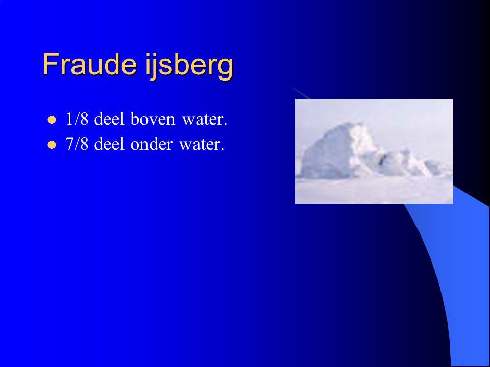 Fraude ijsberg 1/8 deel boven water. 7/8 deel onder water.