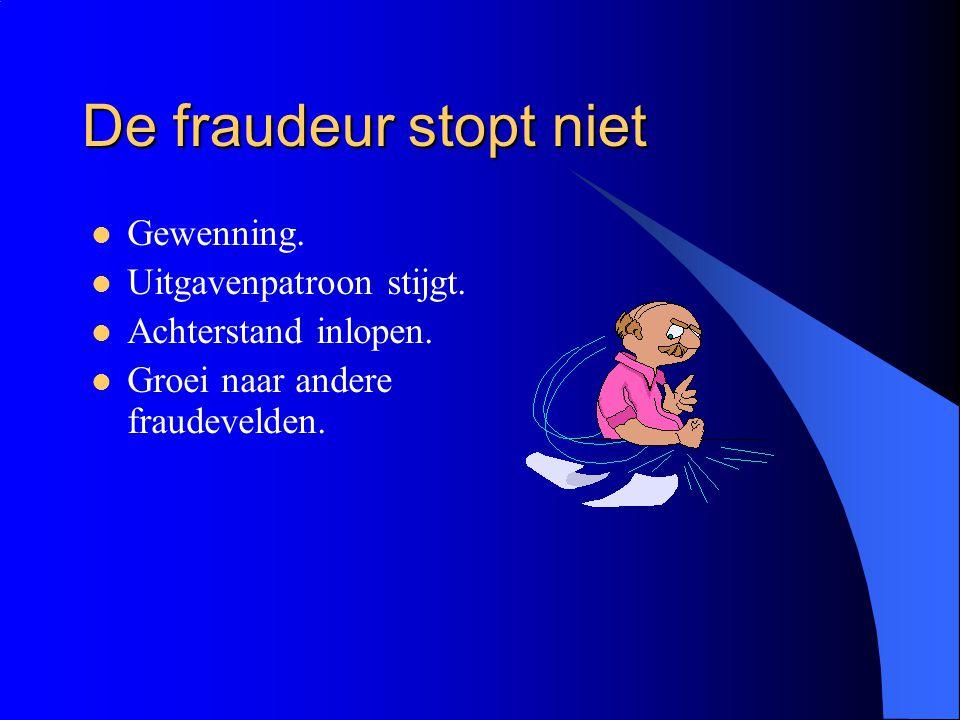 De fraudeur stopt niet Gewenning. Uitgavenpatroon stijgt.