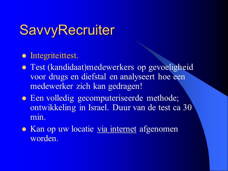 SavvyRecruiter Integriteittest.