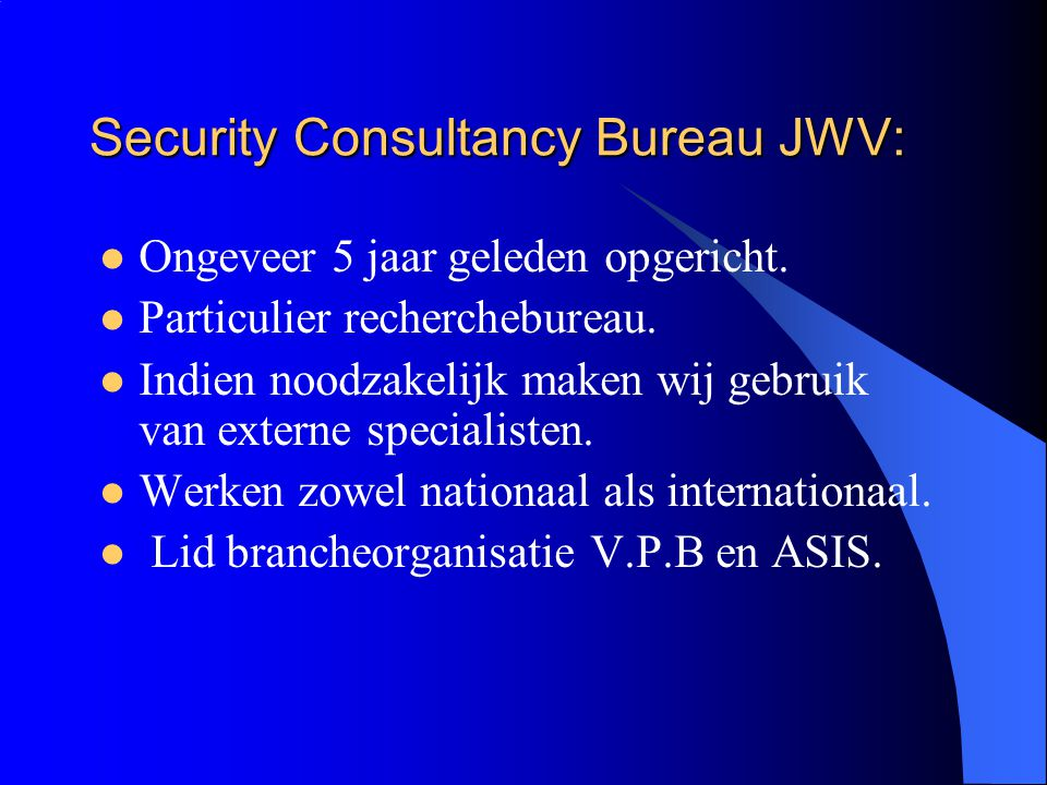 Security Consultancy Bureau JWV: